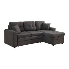 Darwin Sectional Sofa With Storage and Pull Out Bed, Gray