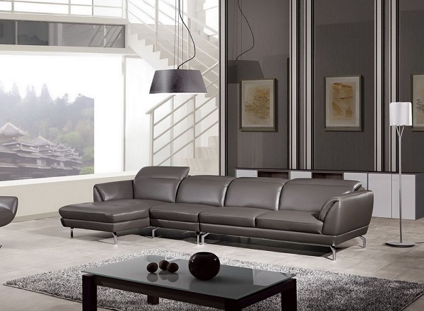 Modern Taupe Italian Leather Sectional Sofa - Shop for Affordable