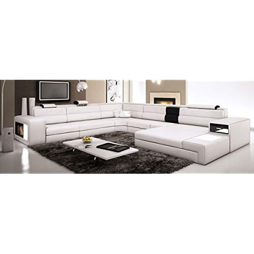 Amazon.com: White Contemporary Italian Leather Sectional Sofa