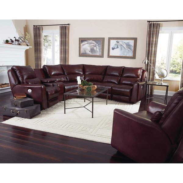 Shop Southern Motion Producer Burgundy Leather Power Reclining