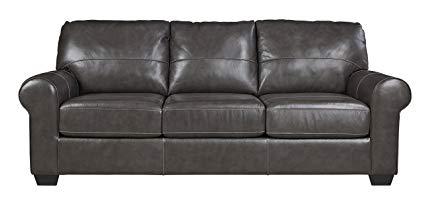 Ashley Furniture Signature Design - Canterelli Contemporary Leather Sofa -  Gunmetal