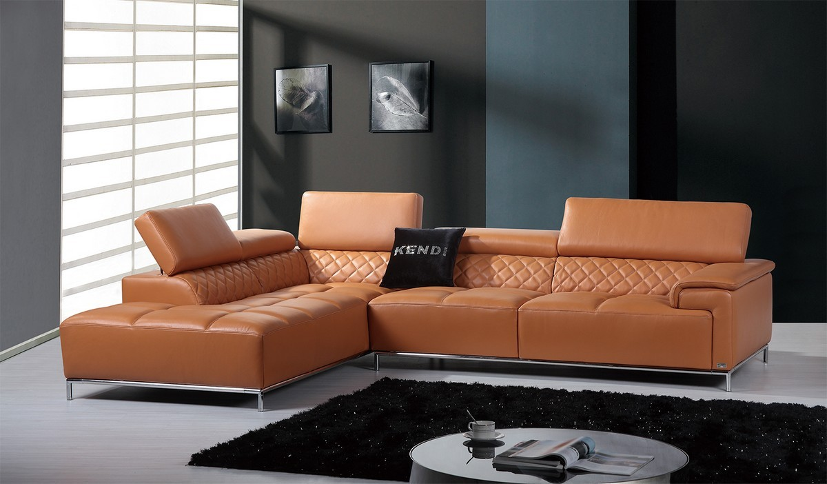 Genuine and Italian Leather, Corner Sectional Sofas. Contemporary Genuine Leather  Sectional