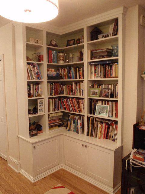 photos of corner bookshelves | corner bookcase