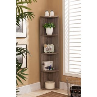 Shop K&B BK19 Grey Wood Corner Bookcase - Free Shipping Today - Overstock -  10568504