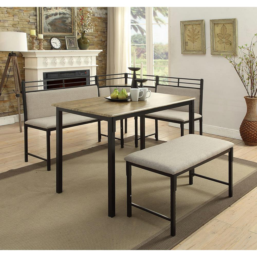 4D Concepts Boltzero 3-Piece Black and Tan Corner Dining Nook Set-159369 -  The Home Depot