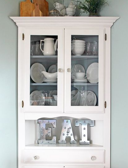 farmhouse style corner hutch makeover, painted furniture More