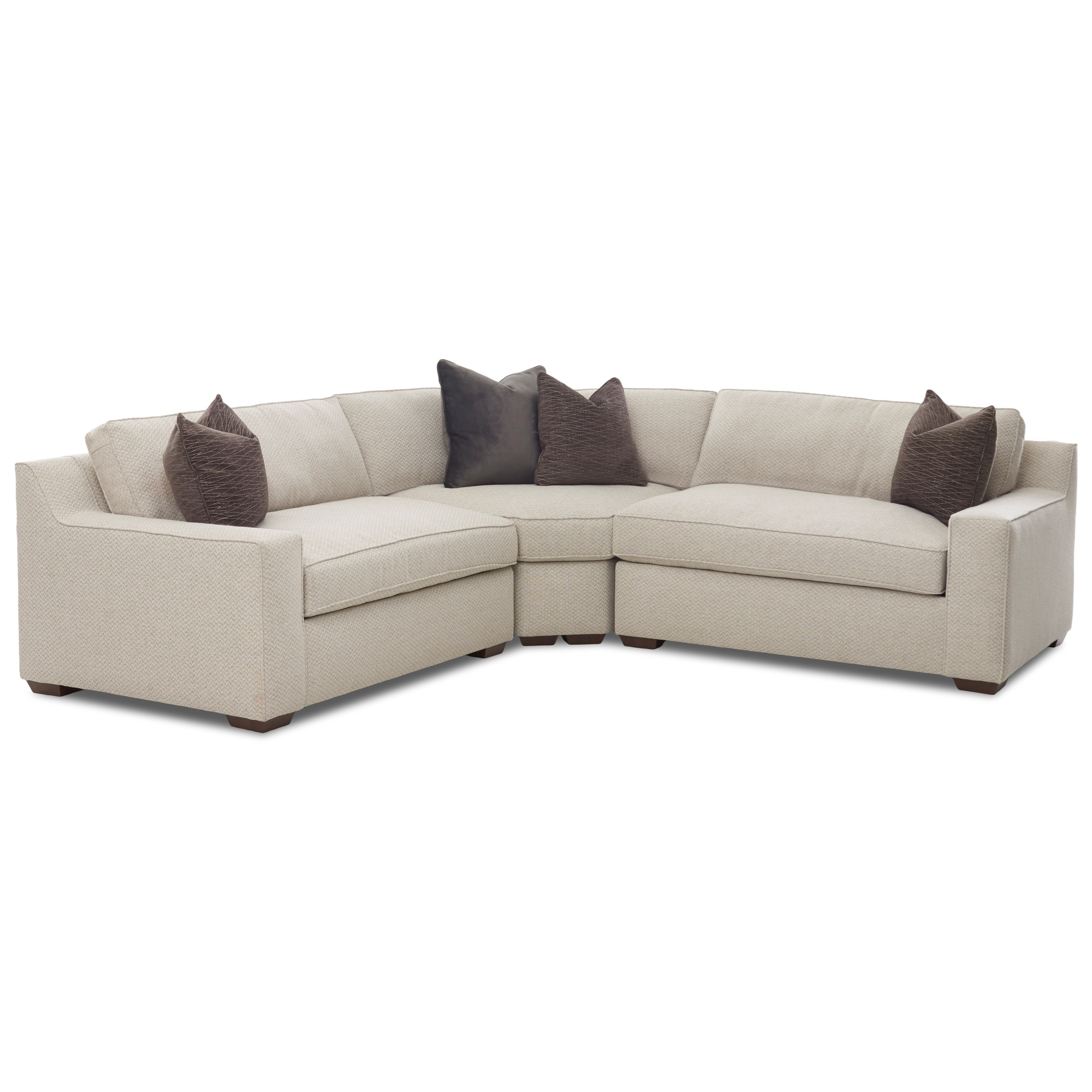 Klaussner Becks Contemporary Three Piece Corner Sectional Sofa
