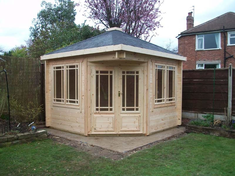 Corner summer houses and corner garden buildings - view online today