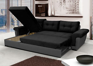 Image is loading NEW-Corner-Sofa-Bed-with-Storage-Black-Fabric-