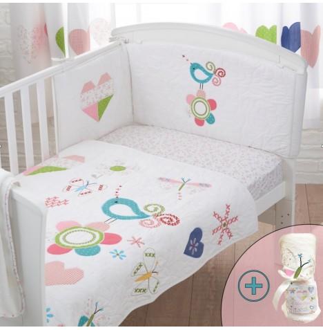 Bizzi Growin 4 Piece Cot Bed Bedding Set - Doodles