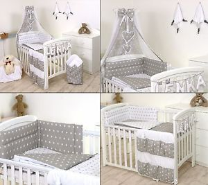 Image is loading GREY-STARS-BABY-BEDDING-SET-COT-COT-BED-