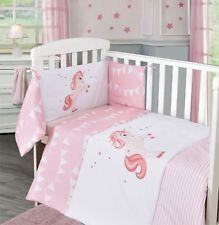 3pc Unicorn Stars Baby Pink Girl Nursery Bale Set Bedding Quilt Bumper Cot  Sheet
