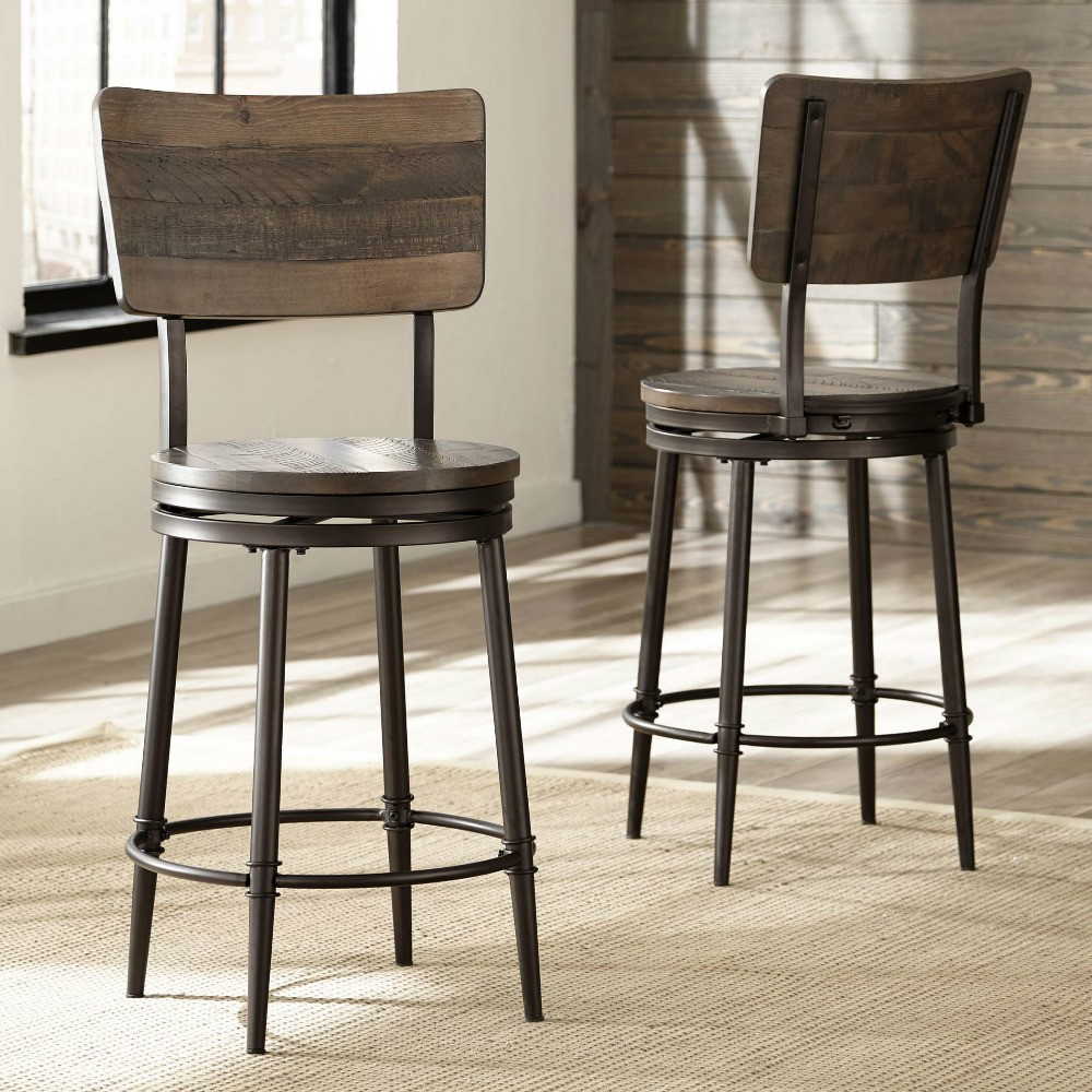 Jennings Wood Swivel Counter Height Stool in Distressed Walnut   Humble  Abode