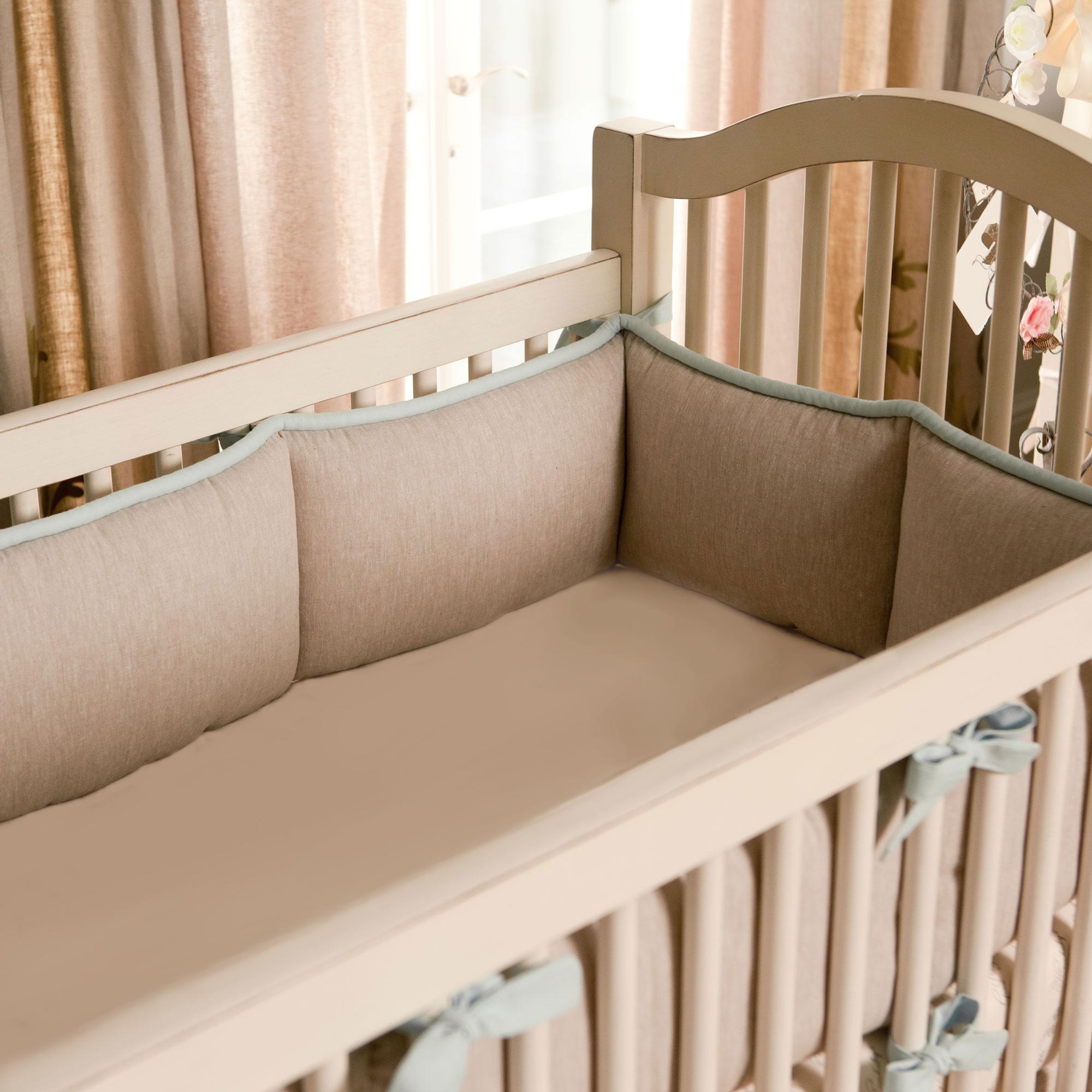 Light Blue Linen Crib Bumper