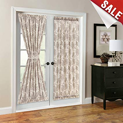 French Door Panel Curtains Paisley Scroll Printed Linen Textured French  Door Curtains 72 inches Long French