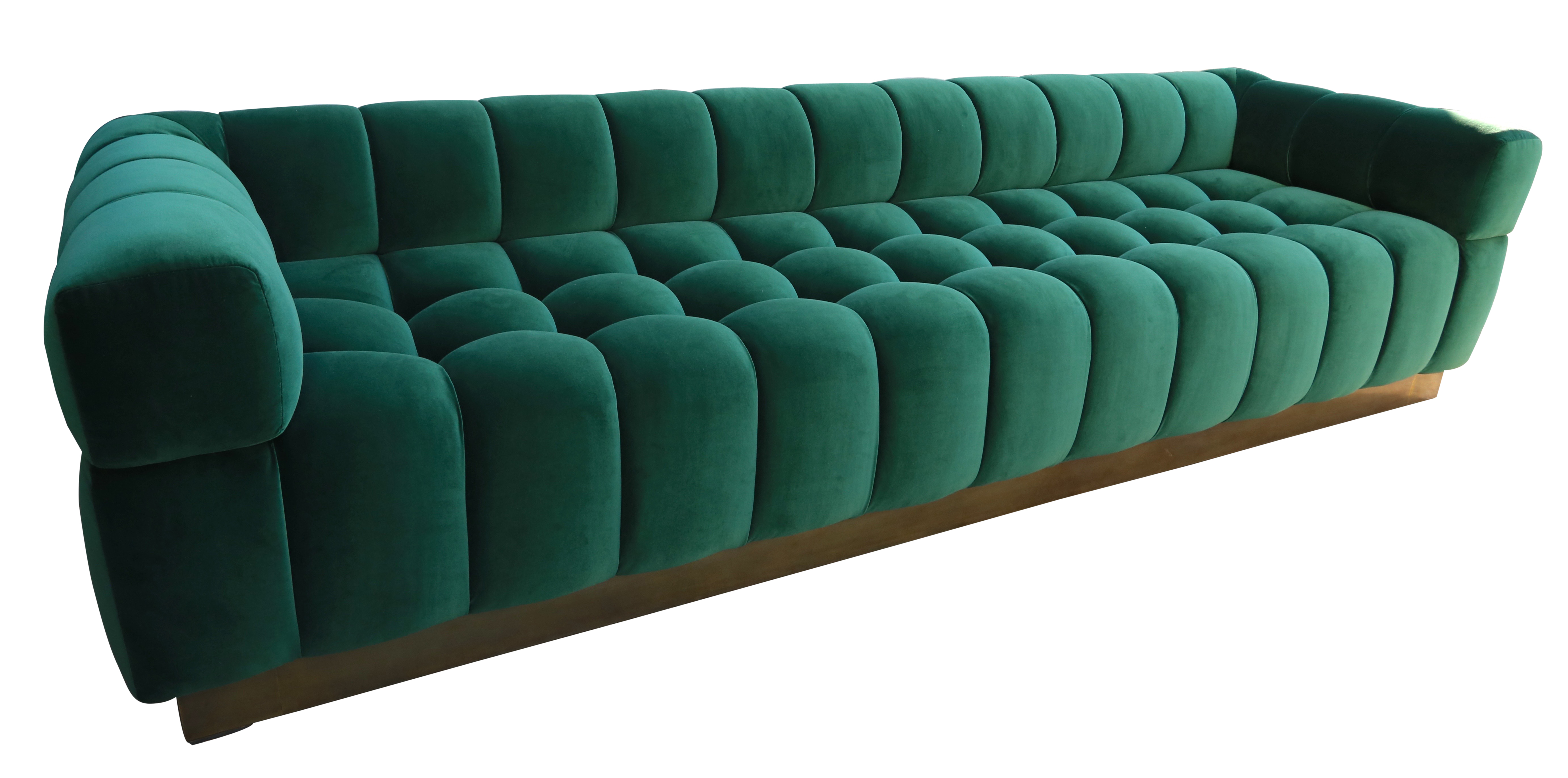 Custom Tufted Green Velvet Sofa with Brass Base - Mid-Century Modern Sofas  & Sectionals - Dering Hall