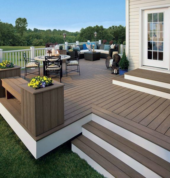 White And Brown Simple Backyard Deck Ideas