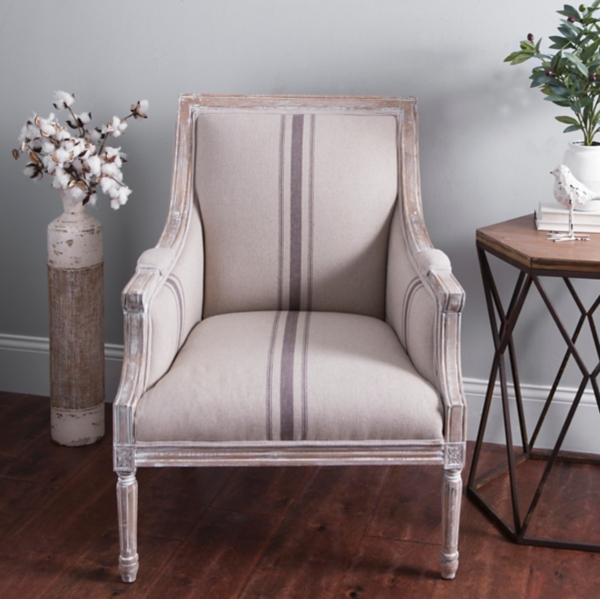 McKenna Tan Stripe Accent Chair
