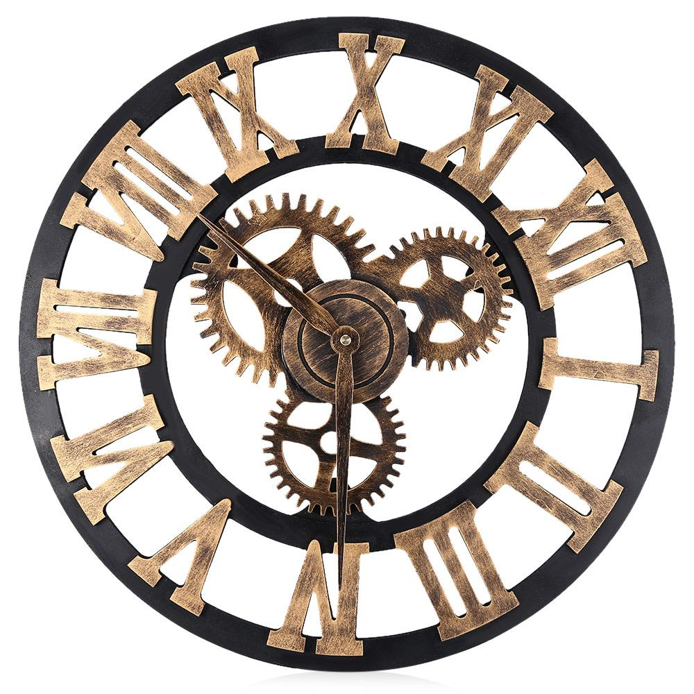 Digital Wall Clocks Design 3D Large Decorative Wall Clock Big Art Gear  Roman Numerals Circular Living Room Clock 17.7 Inch Kids Wall Clock Kids Wall  Clocks