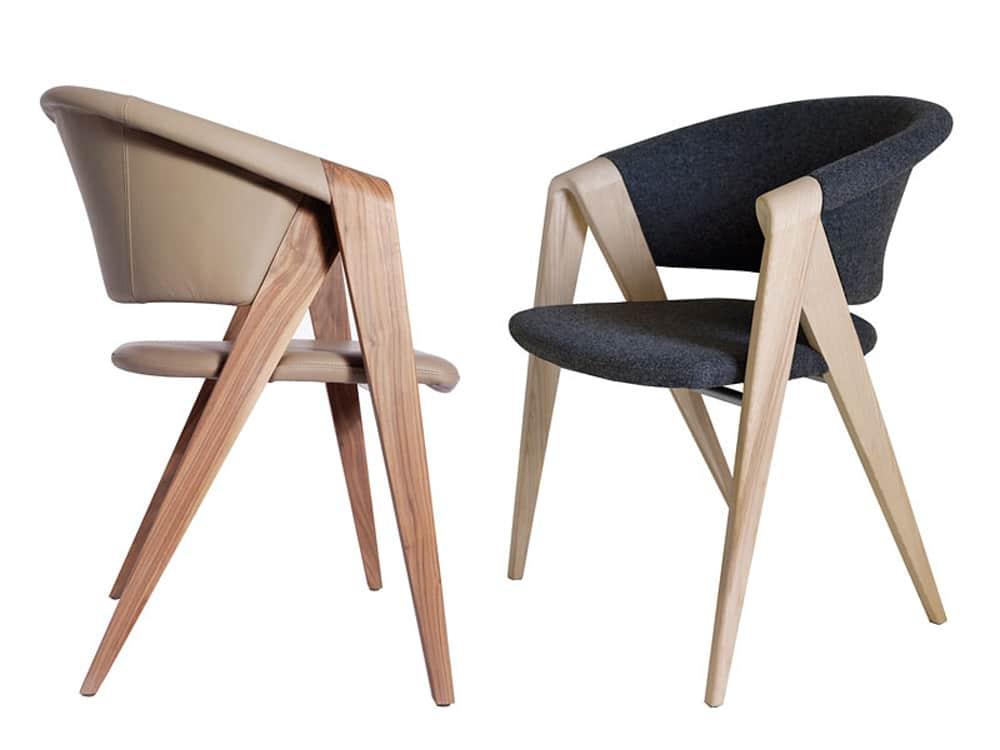 Spirit designer armchair walnut and leather