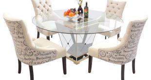 5-Piece Round Glass Dinette Set, Mirror Base With Antique Bronze Finish