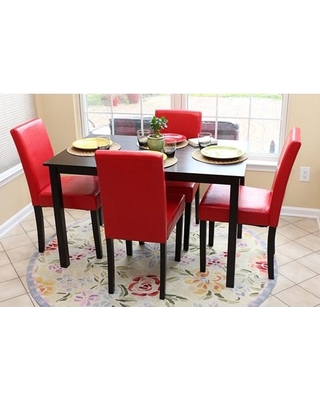 HomeLife® Espresso Wood Dinette Set with 4 Red Leather Chairs