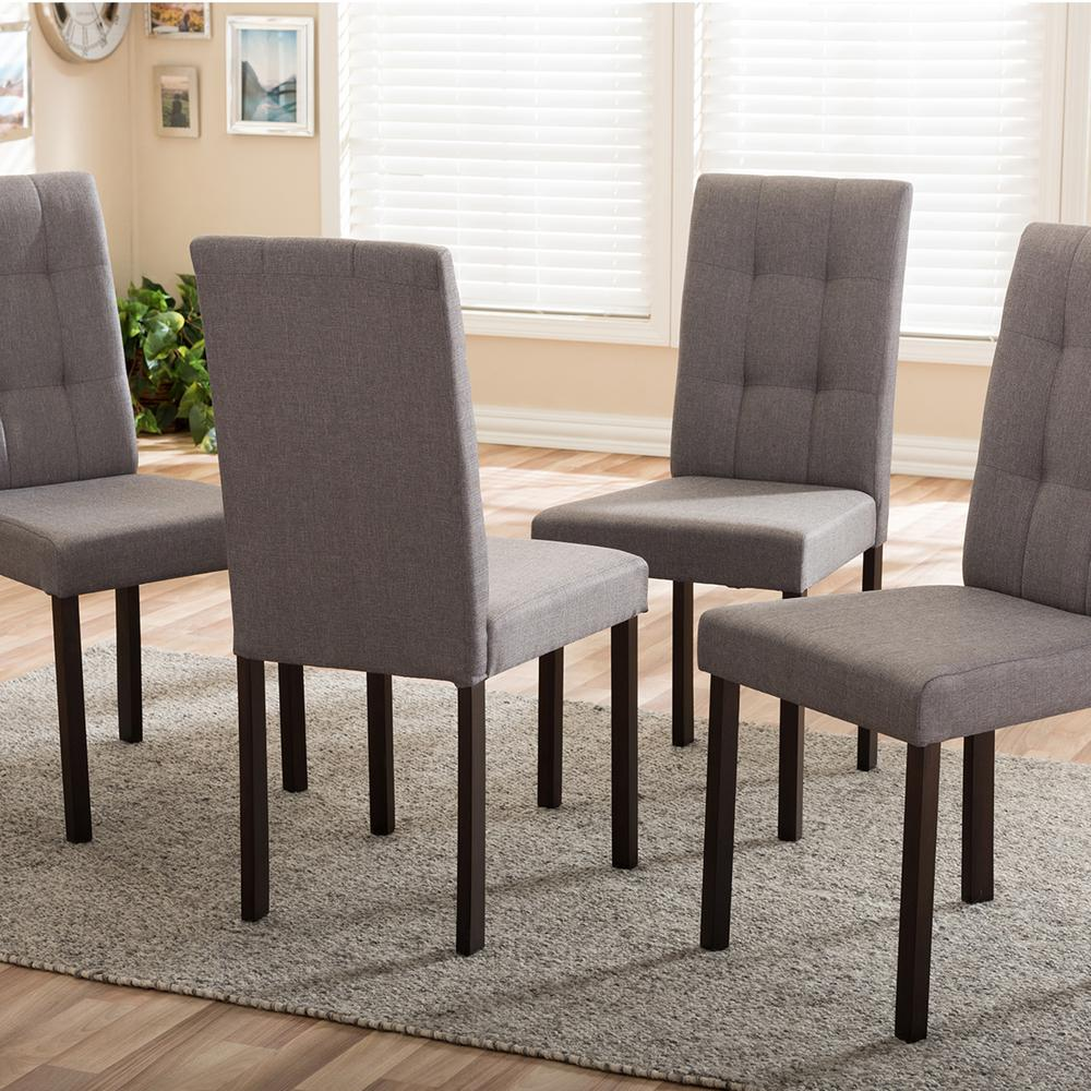 Baxton Studio Andrew 9-Grids Gray Fabric Upholstered Dining Chairs (Set of  4)