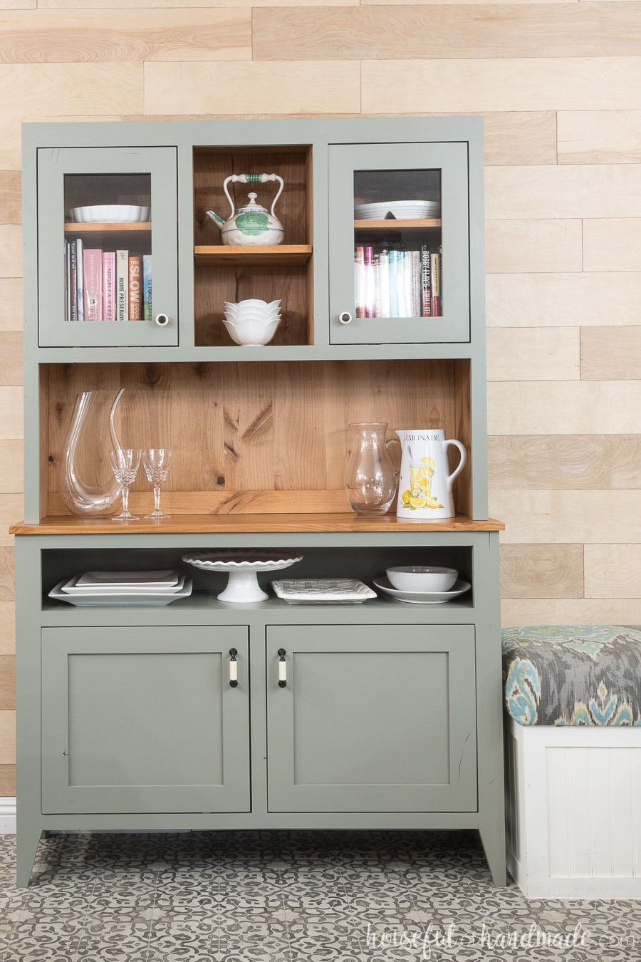 Gorgeous gray dining room hutch with natural knotty wood in the inside.  Lots of storage