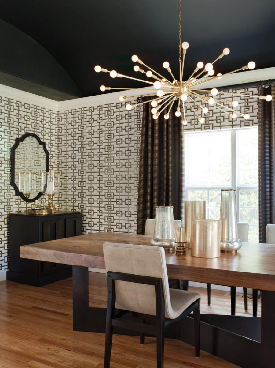 View in gallery Contemporary black dining room with a sputnik chandelier  900x1202 Dining Room Lighting Ideas for a Magazine