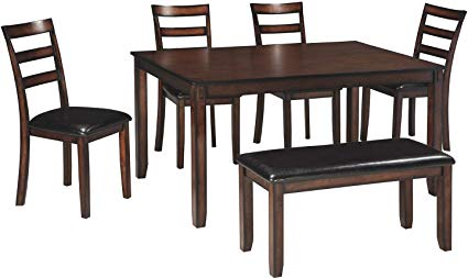 Ashley Furniture Signature Design - Coviar Dining Room Table and Chairs  with Bench (Set of