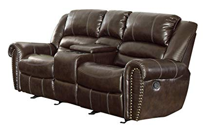 Homelegance 9668BRW-2 Double Glider Reclining Loveseat with Center Console  Bonded Leather, Brown