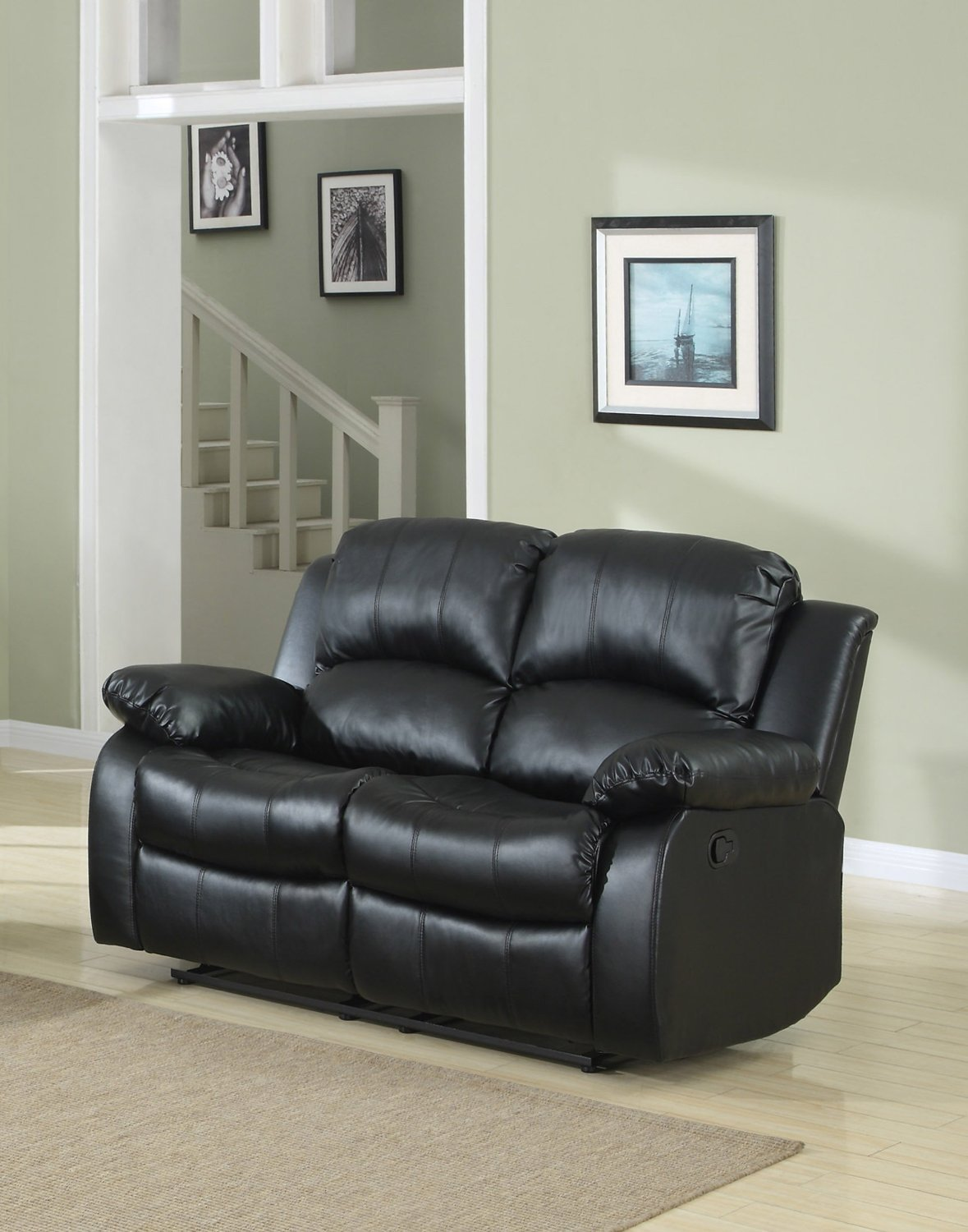 Double Reclining Loveseat Bonded Leather Recliner Living Room Furniture  Black