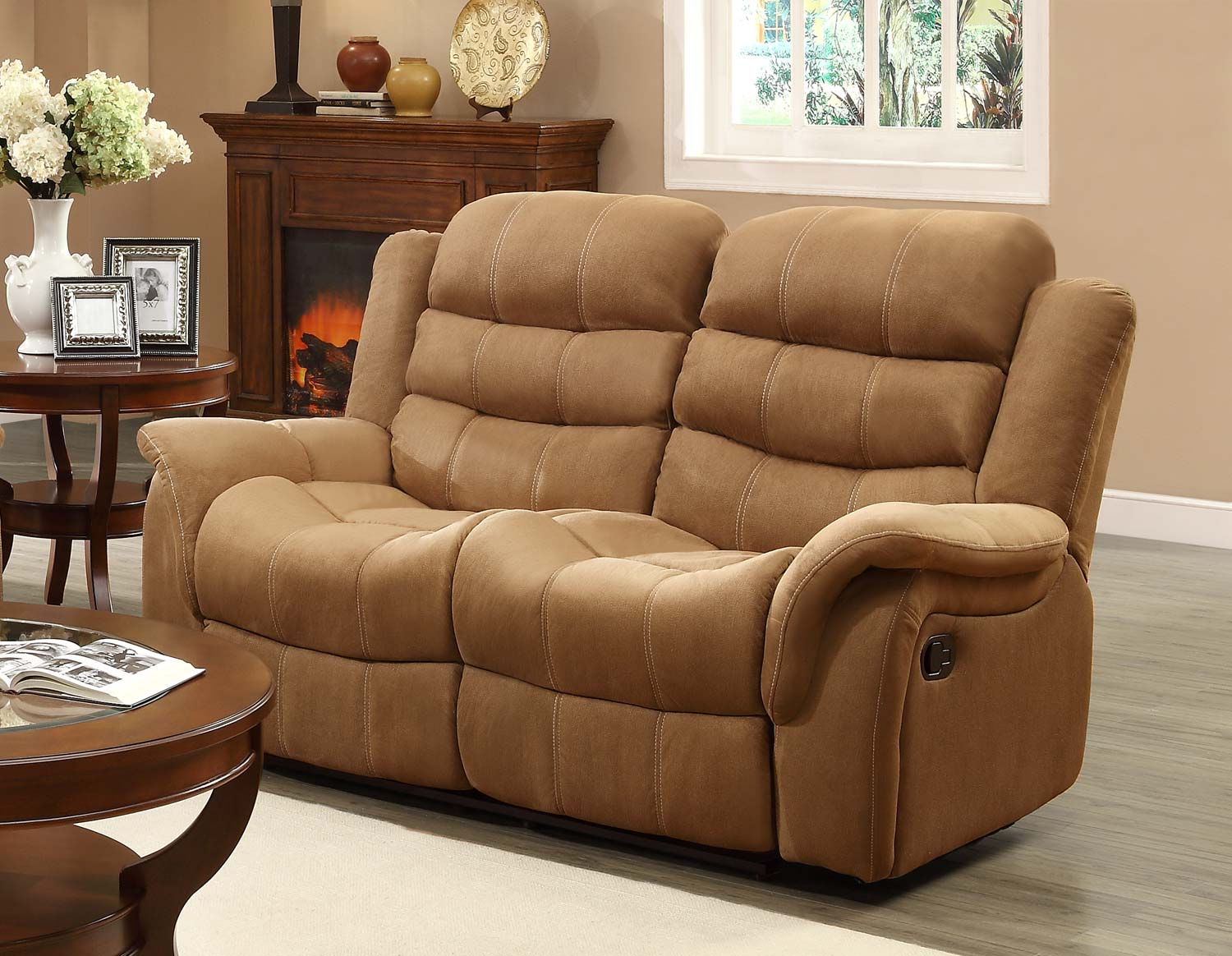 Homelegance Huxley Love Seat Double Recliner - Brown 9777BR-2 |  Traveller Location