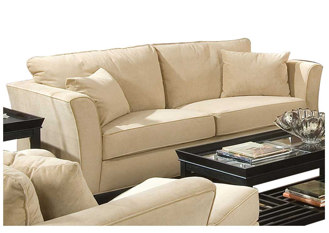 Park Place Cream & Cappuccino Durable Colored Velvet Sofa,Coaster Furniture