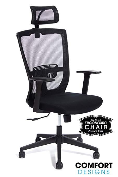 Premium High Back Mesh Office Chair by Comfort Designs | Ergonomic Desk  Chair, Lumbar Back