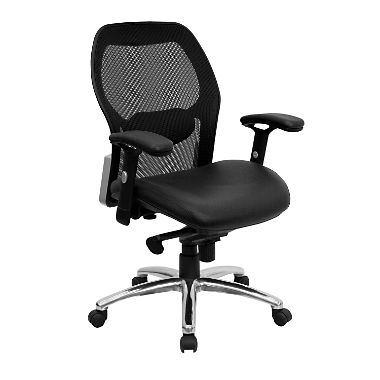 Ergonomic Mesh Office Chair with Black Leather Seat