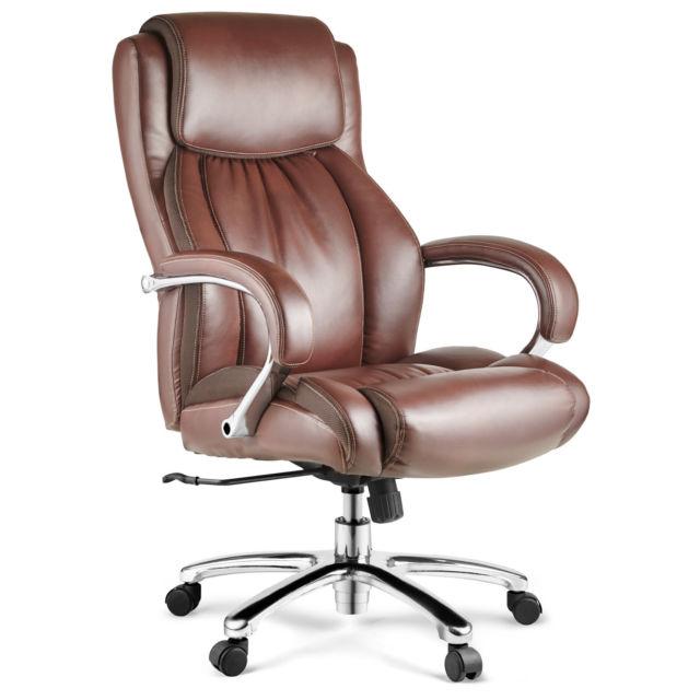 Halter HAL-007 Executive Bonded Leather Office Chair - Chrome Arms & Base