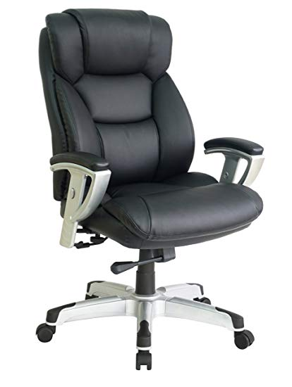 OFFICE FACTOR Big and Tall Executive Office Chair, Bonded Black Leather Office  Chair with Extra