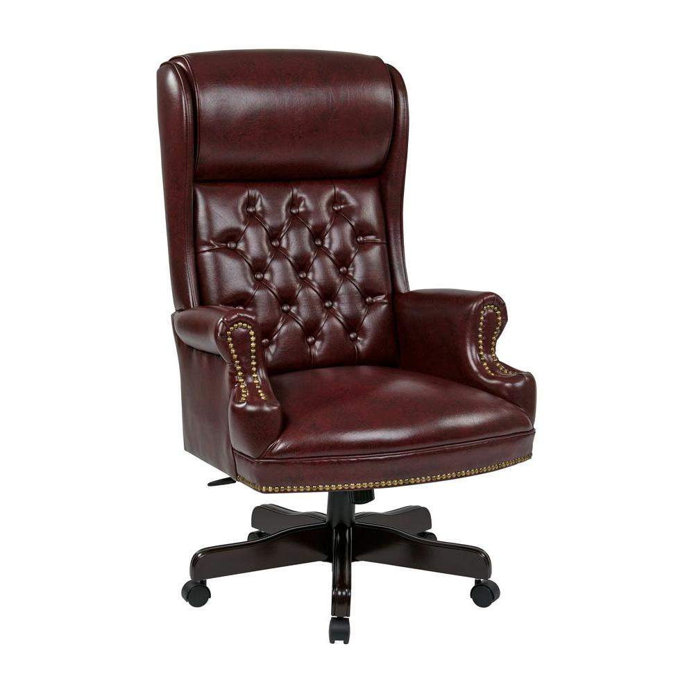 Work Smart Oxblood Vinyl High Back Executive Office Chair