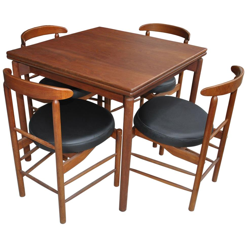 Greta Grossman Midcentury Teak Expandable Dining Table and Chairs For Sale