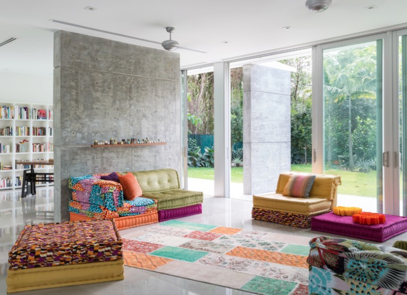 colorful den decorating ideas. This contemporary family room