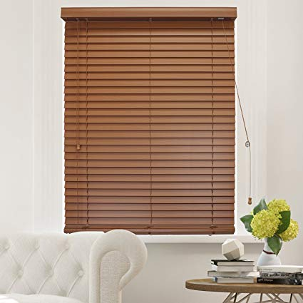 "CHICOLOGY Faux Wood Blinds 2-Inch Horizontal Venetian Slat Window Shade  23"" W X 64&quot"