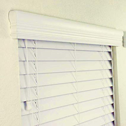 "2"" FAUX WOOD BLINDS 22 x 36 INCH IN ALABASTER W/UPGRADED CROWN VALANCE"