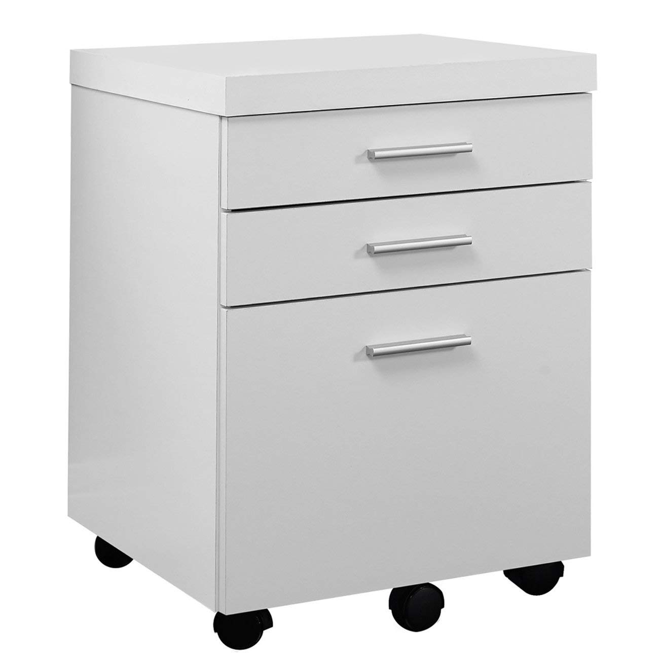 Traveller Location: Monarch Specialties White Hollow-Core 3 Drawer File Cabinet on  Castors: Kitchen & Dining