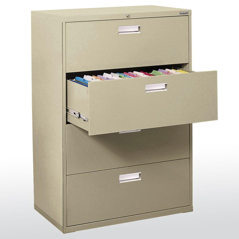 W 4-Drawer Lateral File Cabinet in Putty-LF6A364-07 - The Home Depot