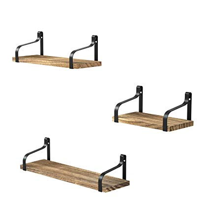 Love-KANKEI Floating Shelves Wall Mounted Set of 3, Rustic Wood Wall  Storage Shelves