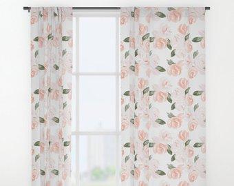 Nursery Curtain, Floral Curtain, Watercolor Floral, Curtain Panel, Curtains  for Nursery, Pink, Blush, Window Treatment, Drapes, Girl Nursery