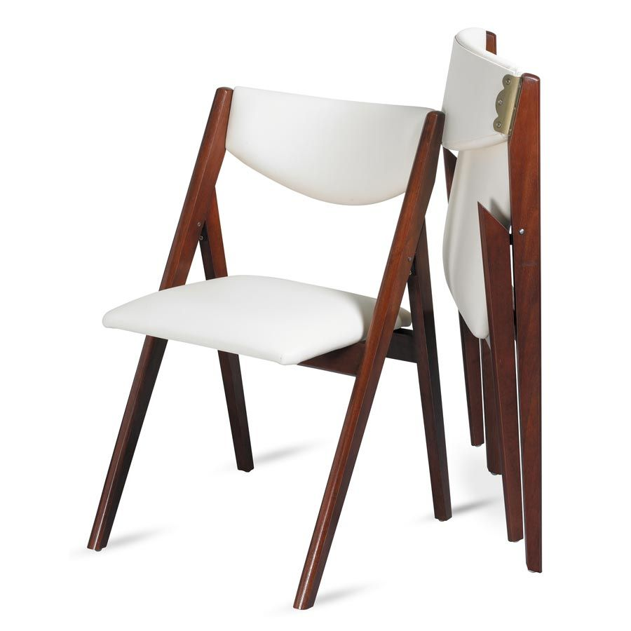 Oooh, look at this modern take on a folding dining chair! A-frame design  upholstered in off-white (easy wipe clean) vinyl. Sleek and stylish, not  fussy.