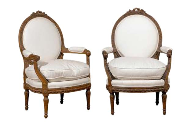ON HOLD - Pair of French Louis XVI Style Upholstered Armchairs from the  Early 19th Century