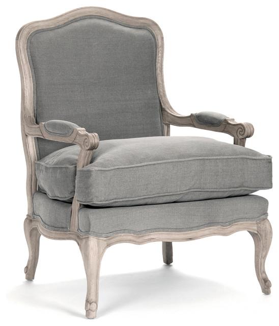 French Country Bastille Dark Gray Linen Salon Armchair